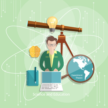 pedagogical: Education and science teacher students international distance learning lesson astronomy vector illustration