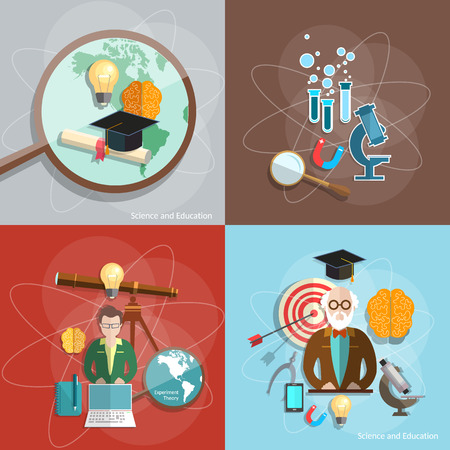 pedagogical: Science and education distance education professor teacher students scientific experiments lecture training vector illustration