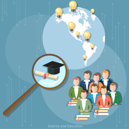 international students: Online education group students diploma distance training international education e-learning concept college university vector
