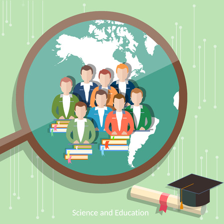 international students: Education group of students distance learning higher online education international e-learning college university vector Illustration