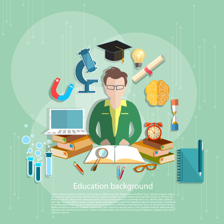 pedagogical: Education concept students e-learning teacher open book school subjects college university vector illustration