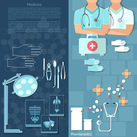 therapy group: Medicine doctors in a hospital intern medical care surgery x-ray medical instruments vector banners