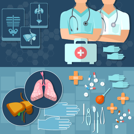 man and banner: Medical doctors health professionals medical research x-rays medicine first aid kit vector banners