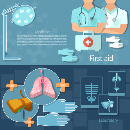 first aid kit: Medical examination professional doctors emergency hospital therapist physician surgeon x-rays human organs vector banners