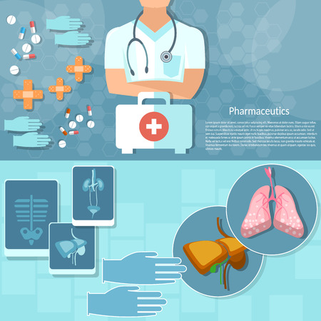 first aid kit: Medicine doctor professional first aid kit hospital medical examination x-rays human organs vector banners