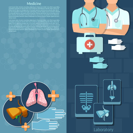group therapy: Medicine doctors in a hospital first aid kit intern medical care surgery x-ray medical background human organs vector banners