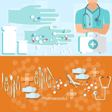 ambulancia: Concepto Medicina instrumentos m�dicos del hospital de ambulancia de primeros auxilios tabletas kit tratamiento vector banners