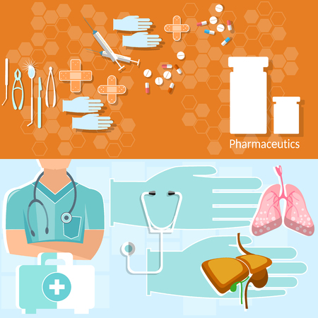 ambulance: Medicine concept doctor professional first aid kit hospital ambulance tablets treatment vector banners Illustration