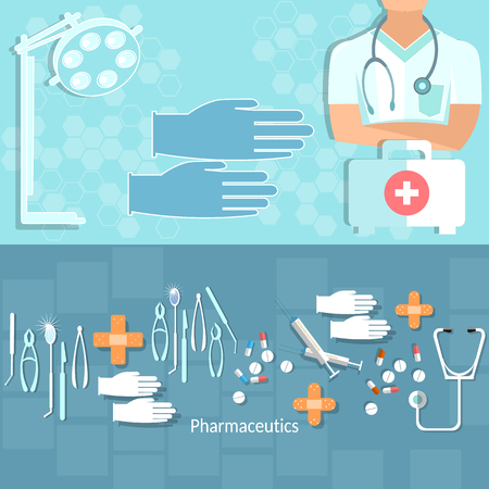 ambulancia: Medicina concepto médico operación profesional de examen médico de primeros auxilios tablillas tratamiento kit ambulancia del hospital vector banners