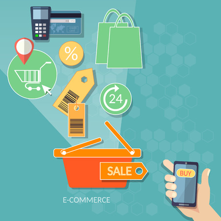 mobile shopping: Mobile shopping e-commerce concept internet shopping 24 hours store human hand smart phone flat