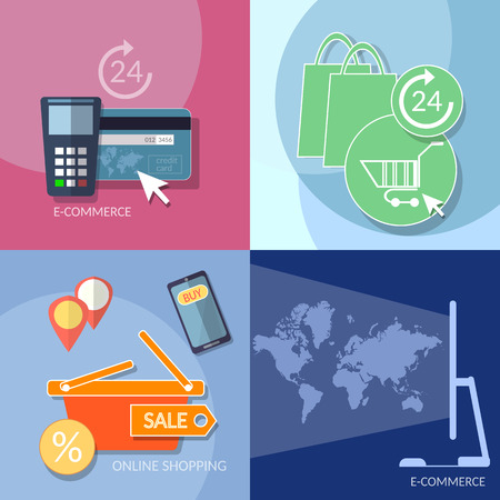 internet shopping: Internet shopping e-commerce icons banking mobile payments on-line store nfc technology concept flat vector set