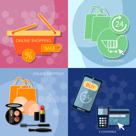 internet shopping: Internet shopping concept woman shopping mobile payments web market online store nfc technology vector set