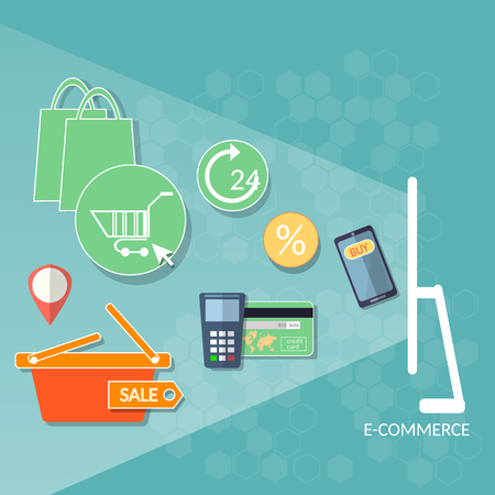 internet shopping: Internet shopping concept e-commerce web market online store credit cards coupons and products shopping basket flat vector illustration