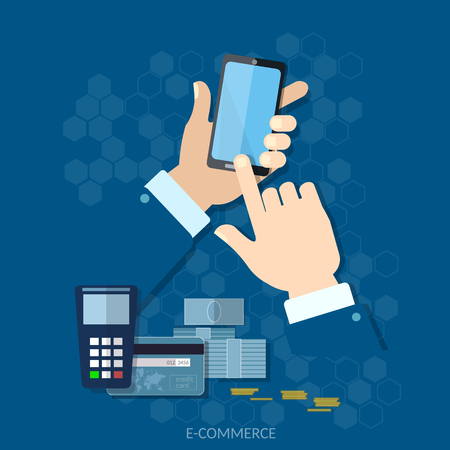 nfc: NFC payment modern smartphone with processing of mobile payments from credit card on the screen vector concept Illustration