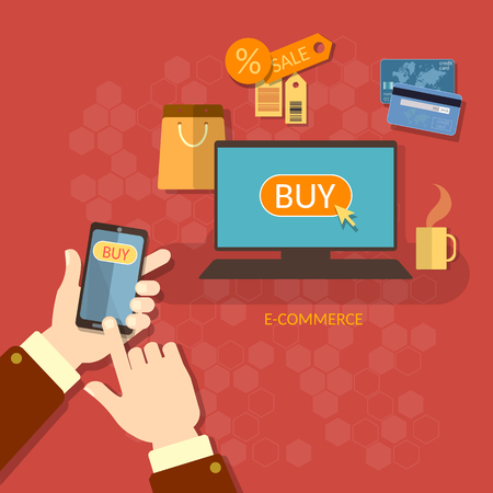 holding smart phone: Online shopping e-commerce concept coupons sale mobile shopping man holding smart phone credit cards  concept Illustration