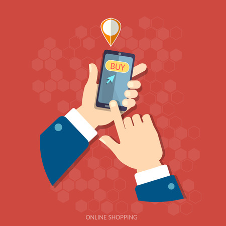 E-commerce men hand holding modern mobile phone internet shopping application on screen vector concept