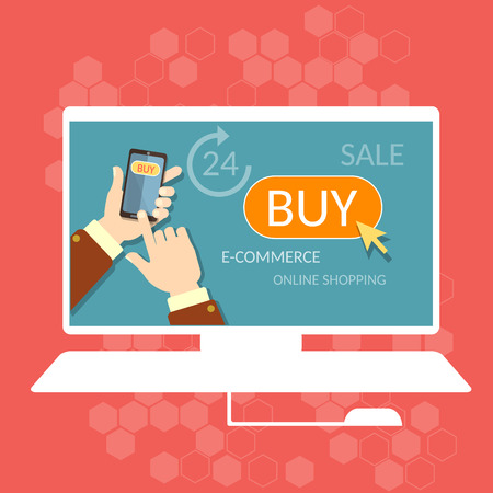 person computer: Internet shopping buy now online store e-commerce process men hand holding modern mobile phone concept Illustration