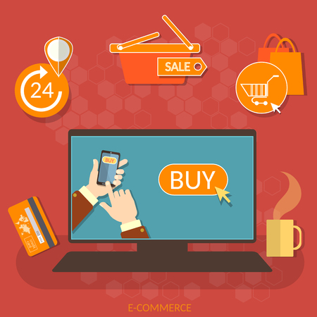 bags: E-commerce online shopping buy now concept hands using smart phone for internet market