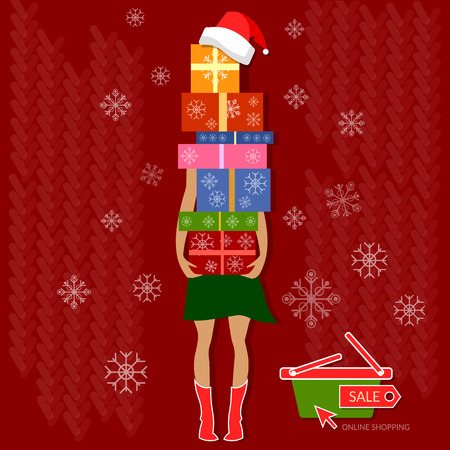 Christmas shopping christmas sale her hands are full of nicely wrapped christmas gifts holidays concept illustration Stock Illustratie