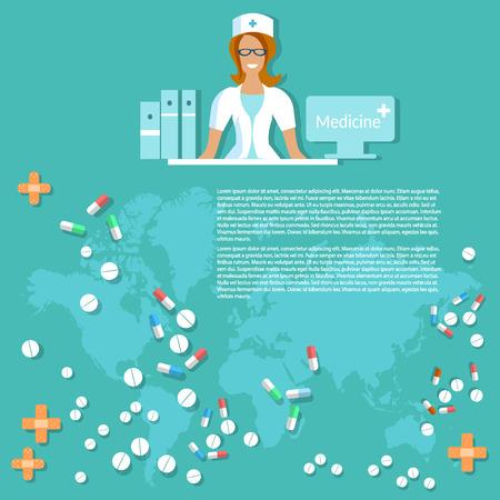 pharmaceuticals: Medicine and pharmaceuticals smiling nurse hospital many medicine pills and tablets medical background world maps pharmacology illustration