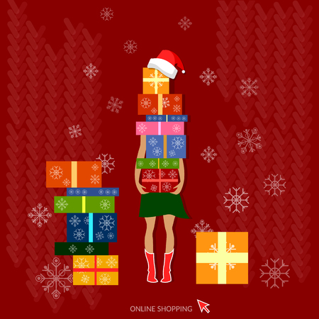 woman shopping bags: Christmas shopping her hands are full of nicely wrapped christmas gifts holidays concept Illustration