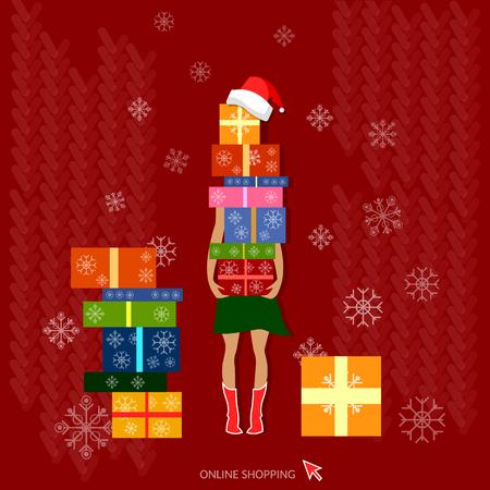 Kerstmis winkelen haar handen zijn vol mooi verpakt kerstcadeaus vakantie concept Stockfoto - 46718790