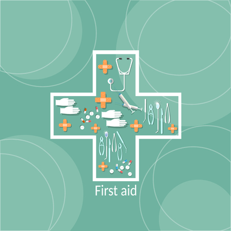 cross shape: Medicine and pharmaceuticals medical healthcare concepts medical objects in cross shape