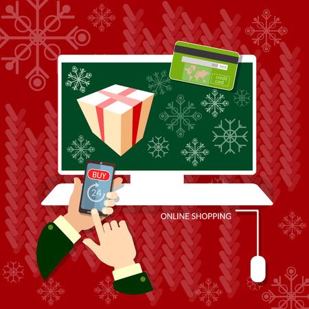 online business: Christmas shopping hands using smart phone online shopping christmas sale internet web market Illustration