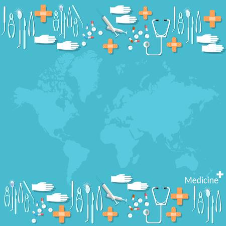 pharmacology: Many medicine pills and tablets capsule medical background world maps pharmacology drugs Illustration