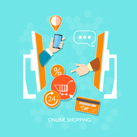 marketing online: Online shop and e-commerce website mobile payments hands make payment vector concept