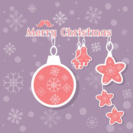 christmas postcard: Merry christmas decoration vintage card background vector illustration