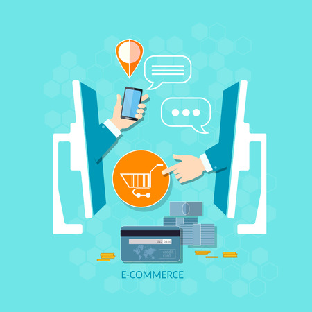 ordering: E-commerce internet shopping mobile shopping payment ordering online store delivery and product order  vector concept Illustration