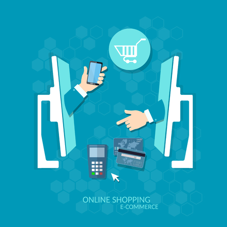 technology transaction: E-commerce concept online shopping online payments credit cards Illustration