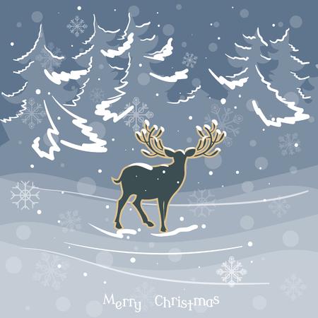 caribou: Christmas deer in winter forest vintage celebration vector illustration Illustration