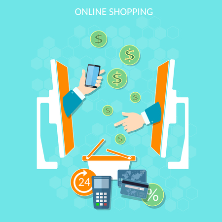 E-commerce website online shopping money payments holding credit card in hand using mobile shopping vector