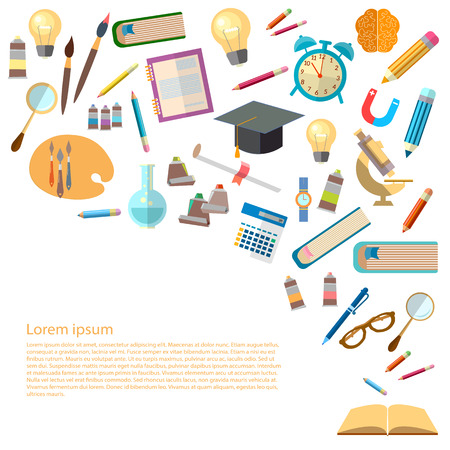 college student: Open books and icons of education concept back to school power of knowledge effective education vector illustration Illustration