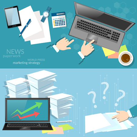 marketing online: Marketing online working office business documents on workplace reporting on business results of the financial period vector banners
