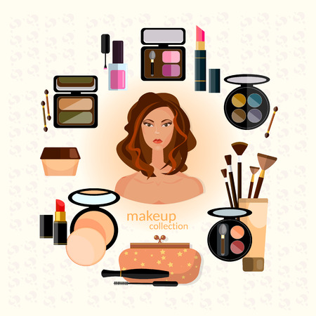 Cosmetics and make-up beautiful woman face make-up artist collection of various make up accessories vector illustration