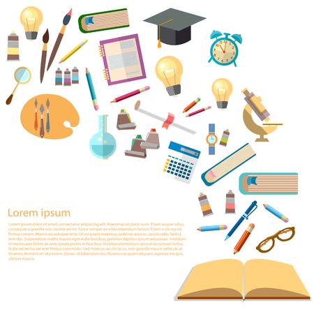 학교 벡터 일러스트 레이 션에 오픈 책과 지식 효과적인 교육 뒷면의 교육 개념 전원의 아이콘