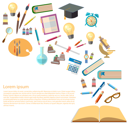 Open books and icons of education concept power of knowledge effective education back to school vector illustration