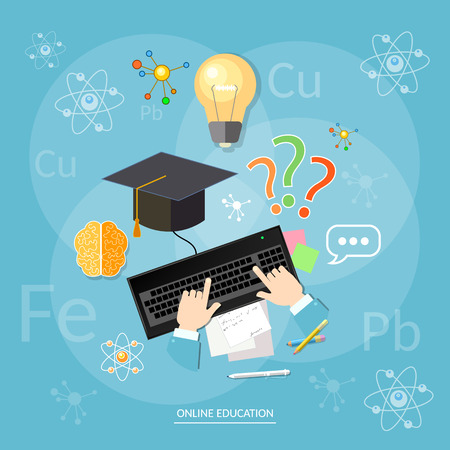 chemistry lesson: Online education students computer learn chemistry lesson chemical elements vector concept