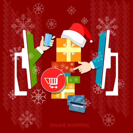 holiday shopping: Christmas shopping holiday sale discount santa hat online store internet shopping vector concept