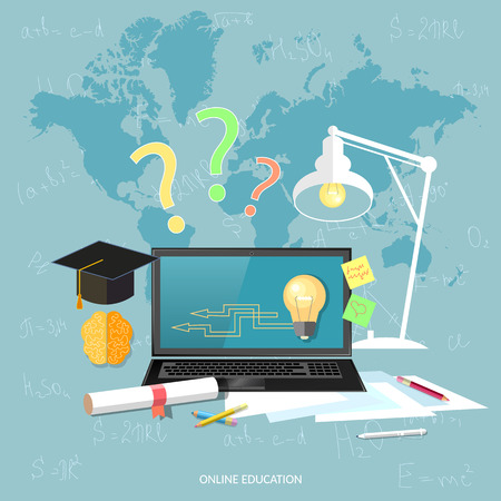 Online education and e-learning concept laptop student learning over the internet vector illustration