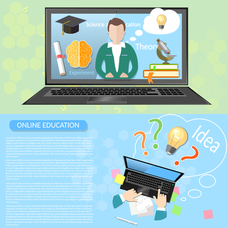 teacher and student: Online education distance learning student university virtual teacher innovative knowledge higher education vector banners