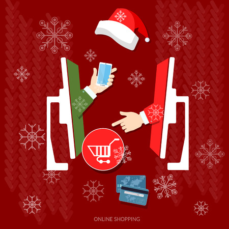 holiday shopping: E-commerce and online shopping Christmas shopping holiday sale discount Santa hat online store vector concept