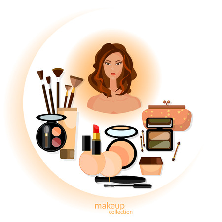 primer: Makeup cosmetics arts beautiful woman face collection professional cosmetics vector illustration