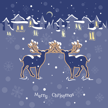 lapland: Merry Christmas. Calendar 2016. Two beautiful deer Christmas night snow town vintage vector illustration