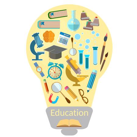 образование: Образование эффективное обучение лампочки с красочным образования значок вектор