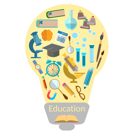 education icon: Education effective training light bulb with colorful education icon vector illustration Illustration