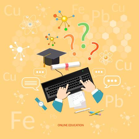 educaci�n en l�nea: La educaci�n en l�nea de aprendizaje a distancia aprenda concepto de qu�mica a los estudiantes lecciones computadora elementos qu�micos vectorial Vectores
